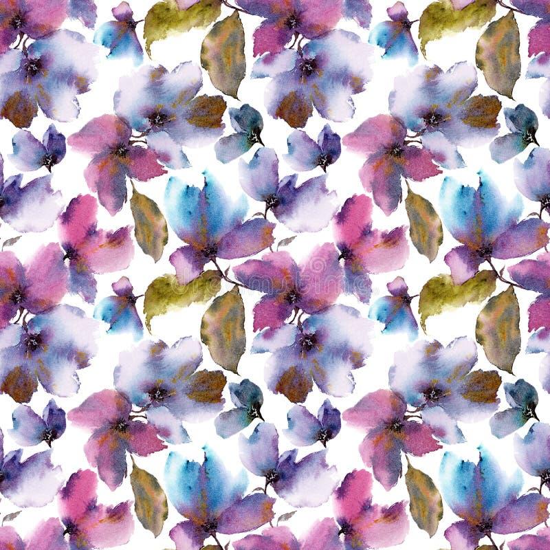 Fondo floral inconsútil Pétalos florales transparentes Plantilla del modelo de la materia textil stock de ilustración