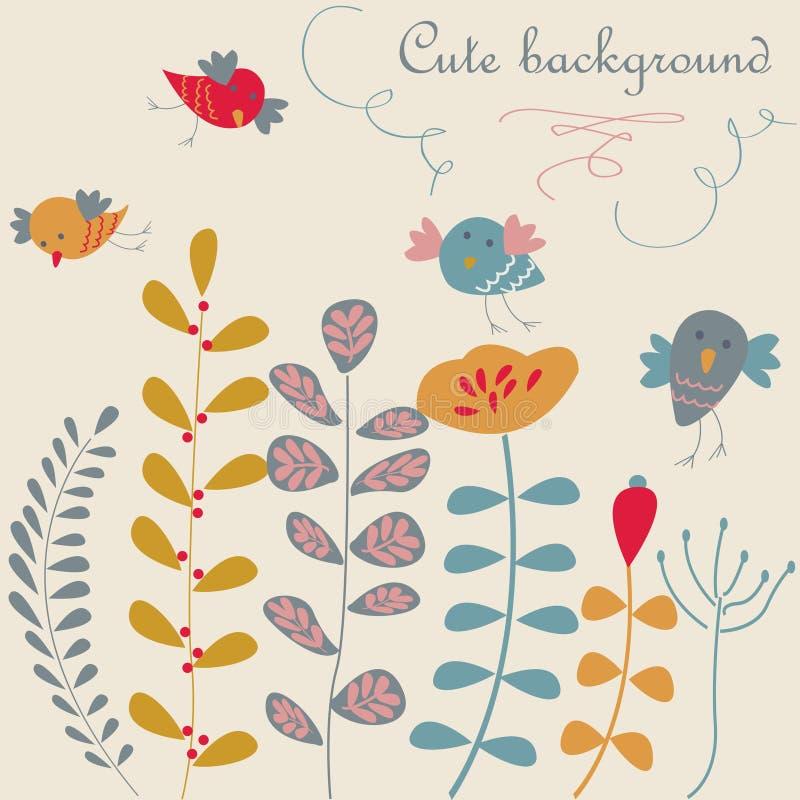 Fondo floral lindo con los pájaros stock de ilustración