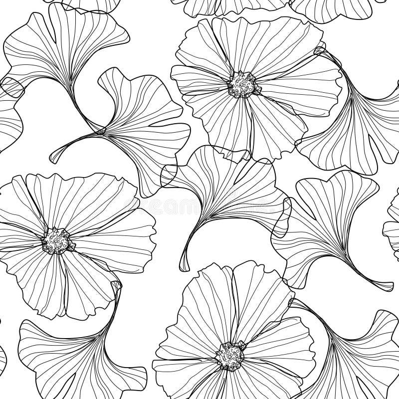 Fondo floral linear, modelo de flores ilustración del vector