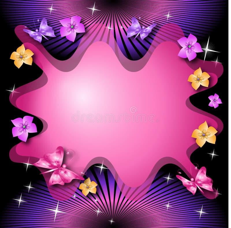 Fondo floral mágico con las mariposas stock de ilustración