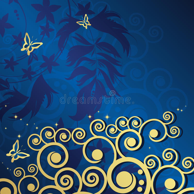 Fondo floral mágico con los curles de oro. libre illustration