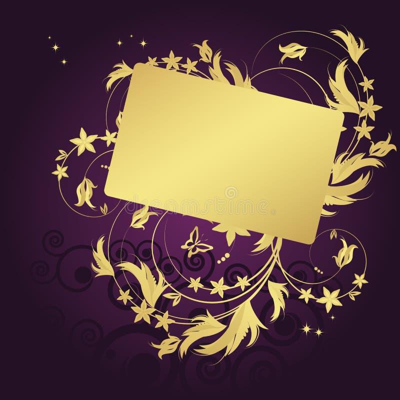 Fondo floral mágico con los curles de oro ilustración del vector
