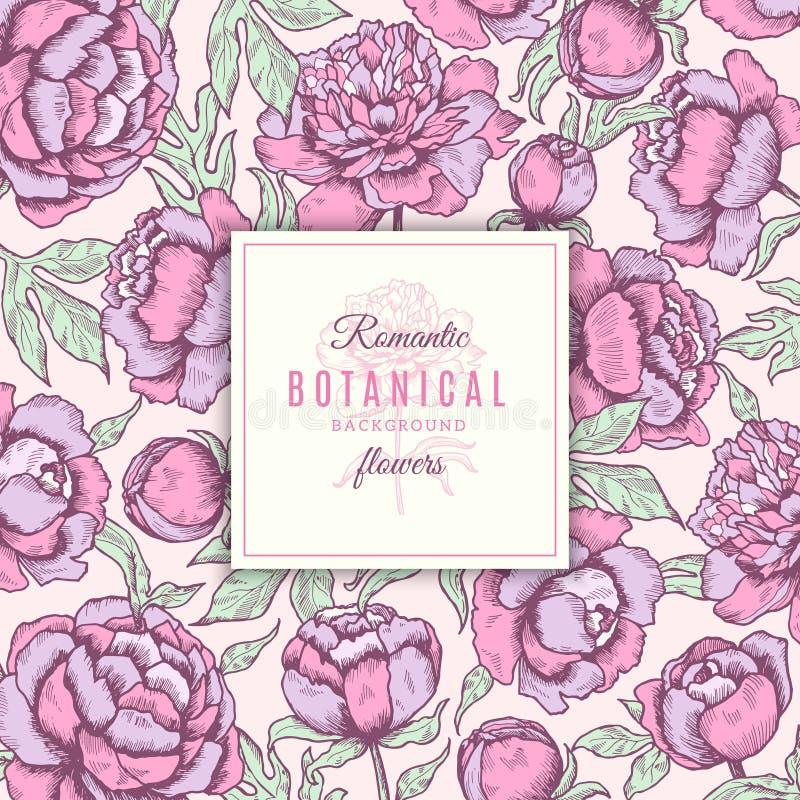 Fondo floral Marcos botánicos de las flores de las peonías con la mano del concepto del vector de la boda de las hojas dibujada stock de ilustración