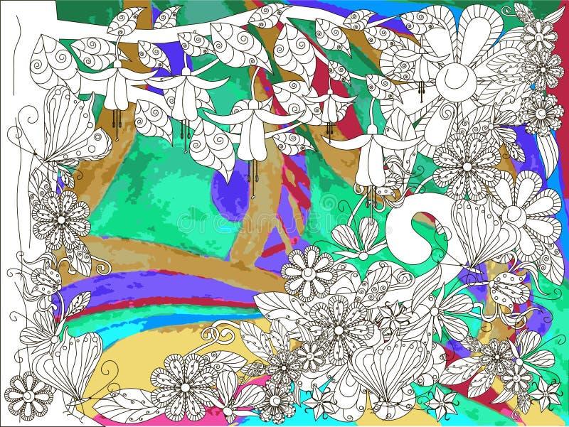Fondo floral original Árbol blanco, flores con los esquemas negros en fondo abstracto colorido libre illustration