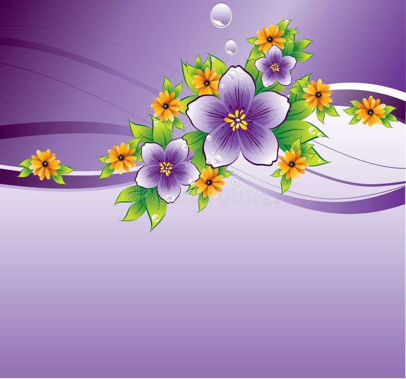 Fondo floral púrpura con la gota de rocío libre illustration
