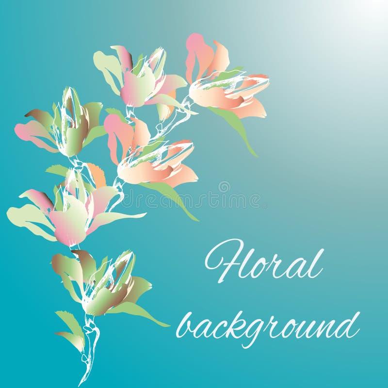 Fondo floral para los saludos, las tarjetas y las invitaciones Un ramo de flores de la acuarela en un fondo azul gradiente stock de ilustración