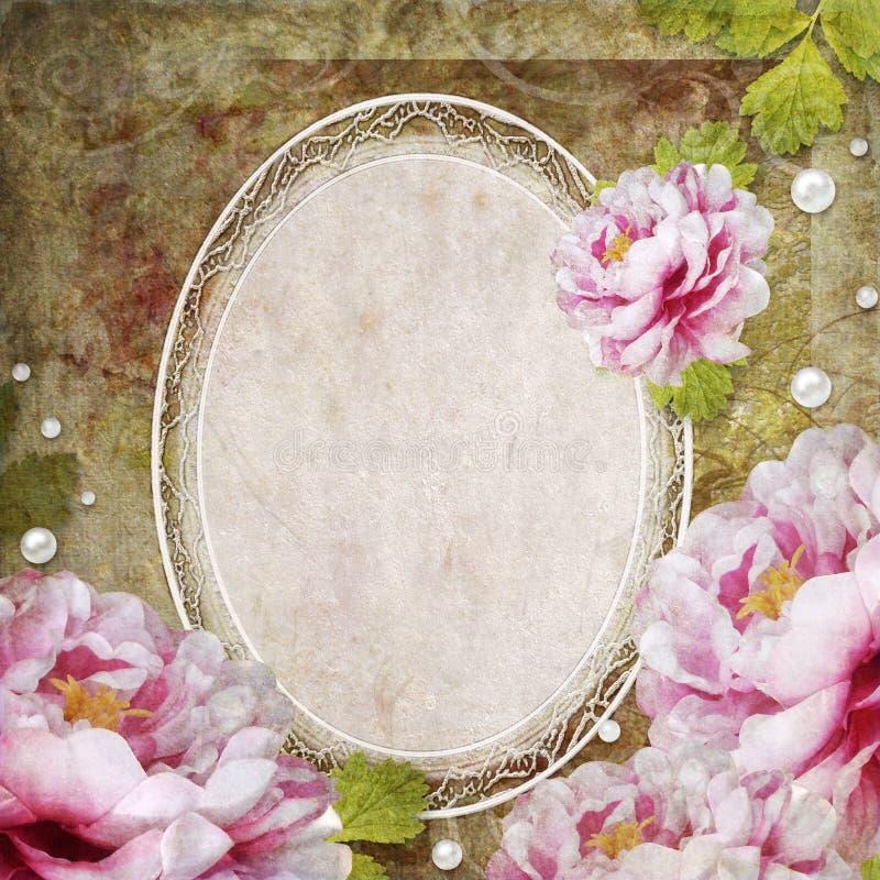 Fondo floral retro con el marco y las flores ilustración del vector