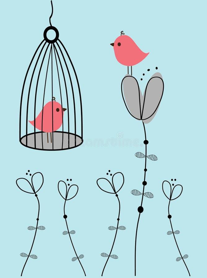 Fondo floral retro con los pájaros ilustración del vector