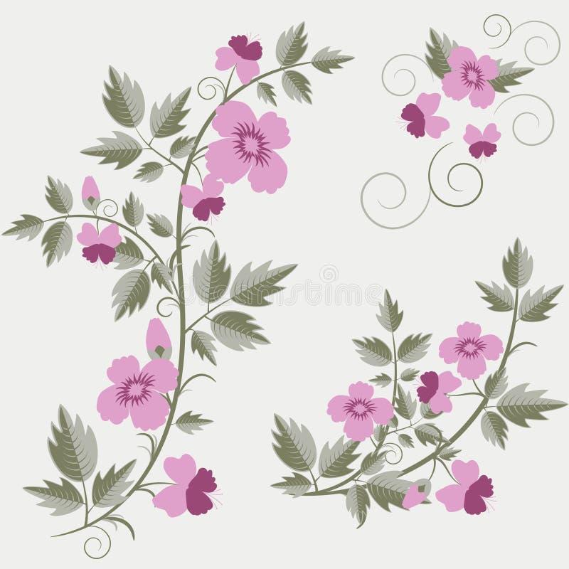 Fondo floral retro del vector con las flores stock de ilustración