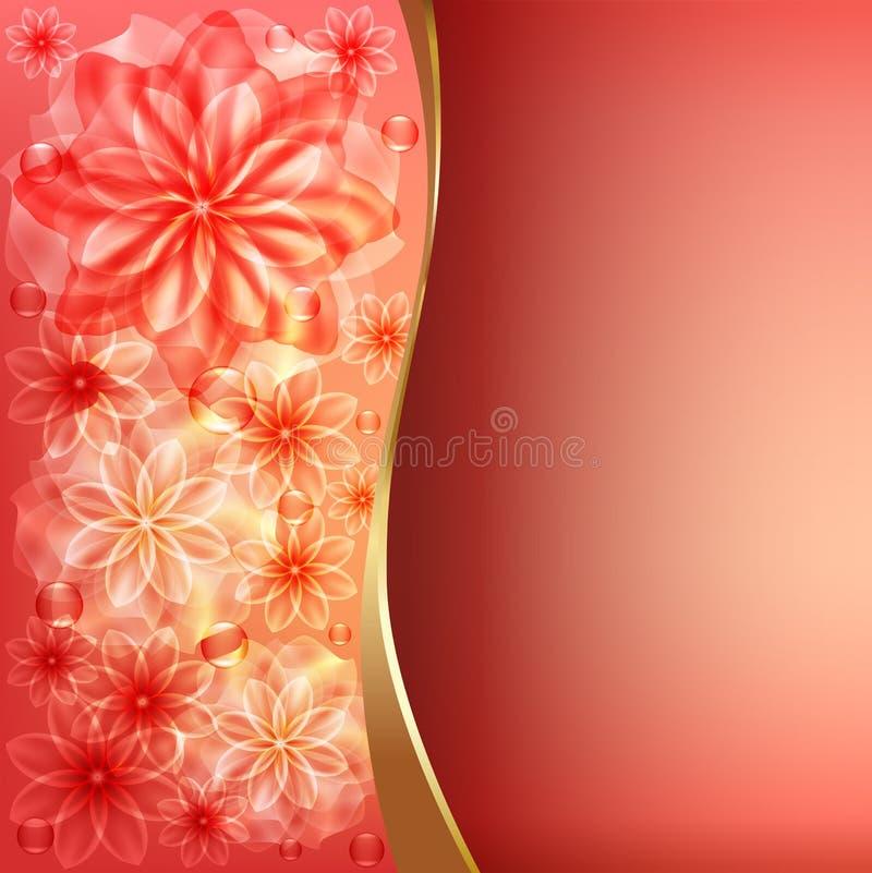 Fondo floral rojo stock de ilustración
