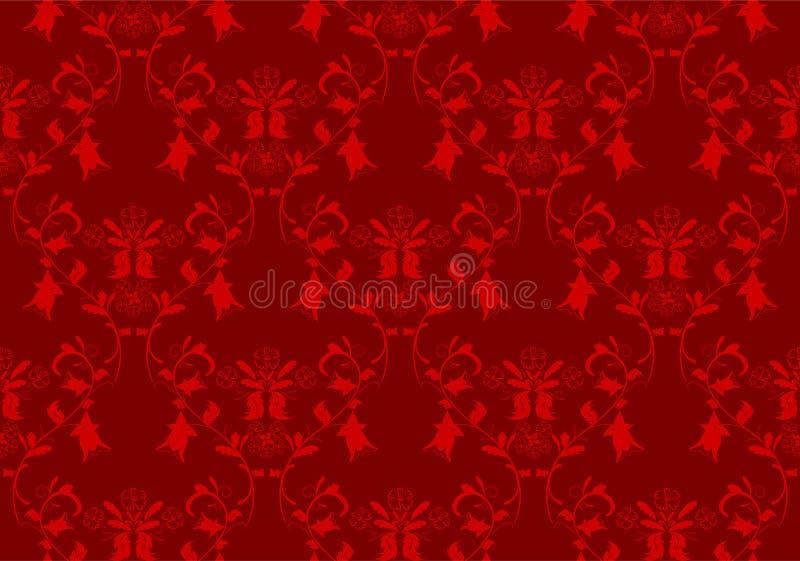 Fondo floral rojo del damasco stock de ilustración