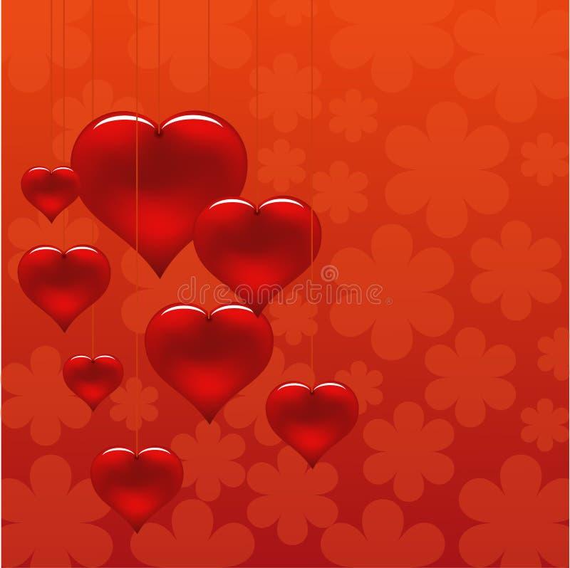 Fondo floral romántico con los corazones que cuelgan en secuencias stock de ilustración