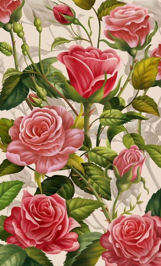 Fondo floral, Rose colorida y flores Cubierta de la caja del teléfono móvil, ejemplo creativo y arte innovador stock de ilustración