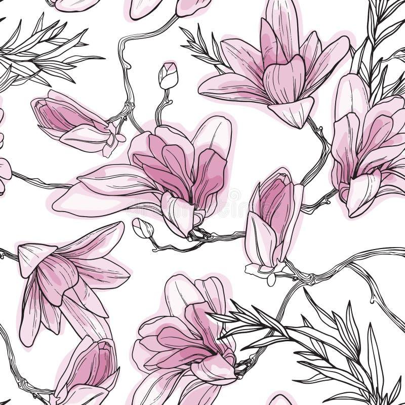 Fondo floral sin fisuras con flores japonesas tropicales dibujadas a mano, flores magnolias, ramas de primavera ilustración del vector
