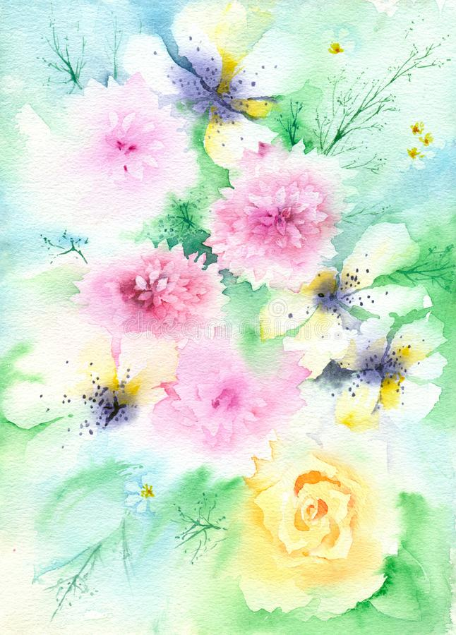 Fondo floral suave de la acuarela ilustración del vector