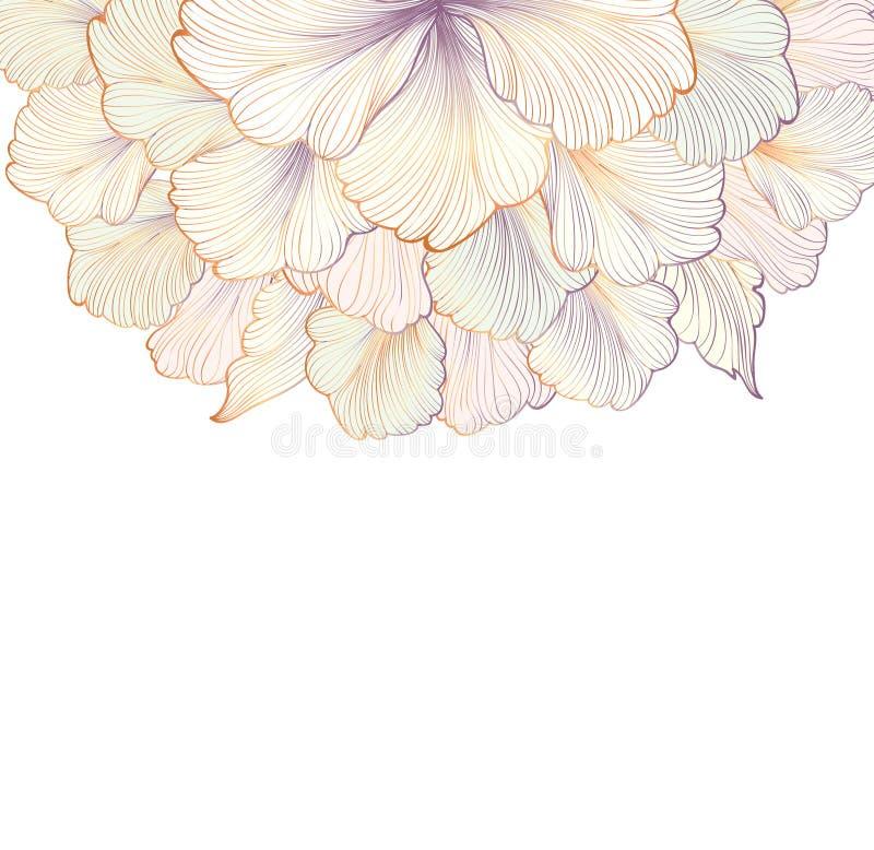 Fondo floral Tarjeta de felicitación con la flor Frontera del Flourish stock de ilustración