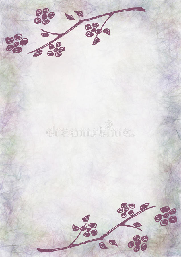 Fondo floral texturizado dibujado mano Tarjeta del vintage con las flores y las hojas Plantilla para la tarjeta de la letra o de  libre illustration