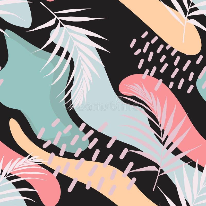 Fondo floral universal creativo en estilo tropical Texturas dibujadas mano ilustración del vector