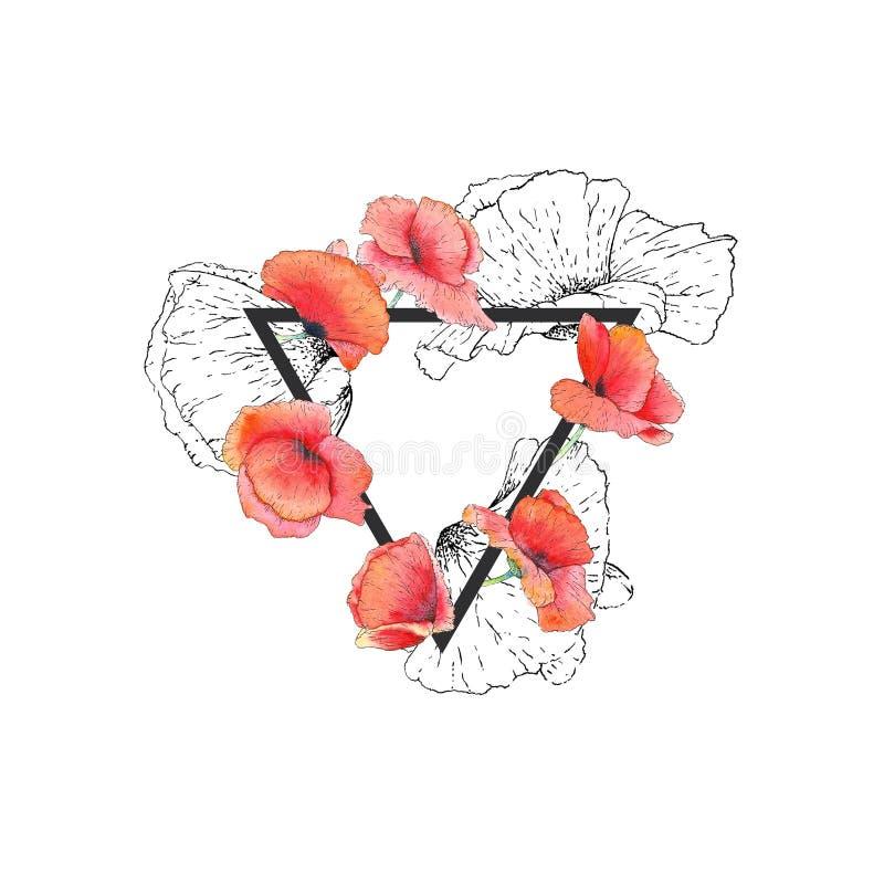 Fondo floral y de la geometría imagen de archivo libre de regalías