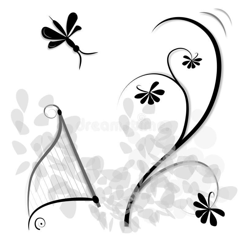 Fondo floral y de la música, stock de ilustración