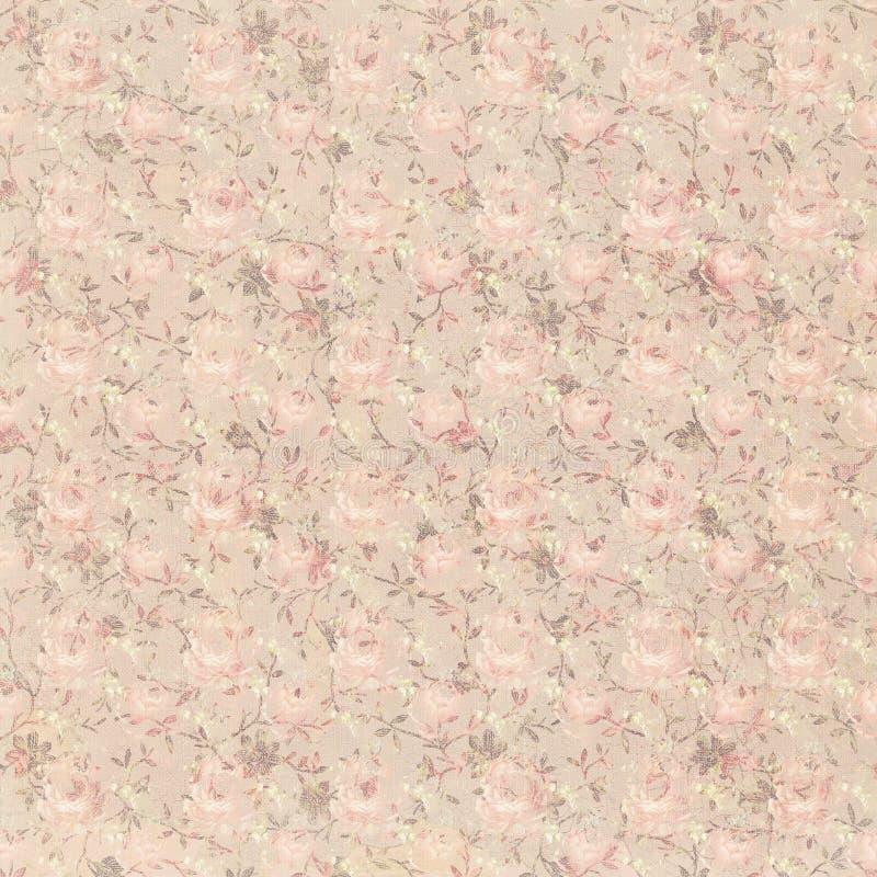 Fondo floreale astratto elegante misero sbiadito grungy marrone e rosa d'annata royalty illustrazione gratis