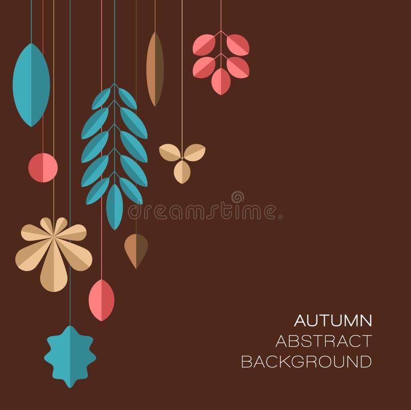 Fondo floreale astratto scuro di autunno con le foglie illustrazione vettoriale