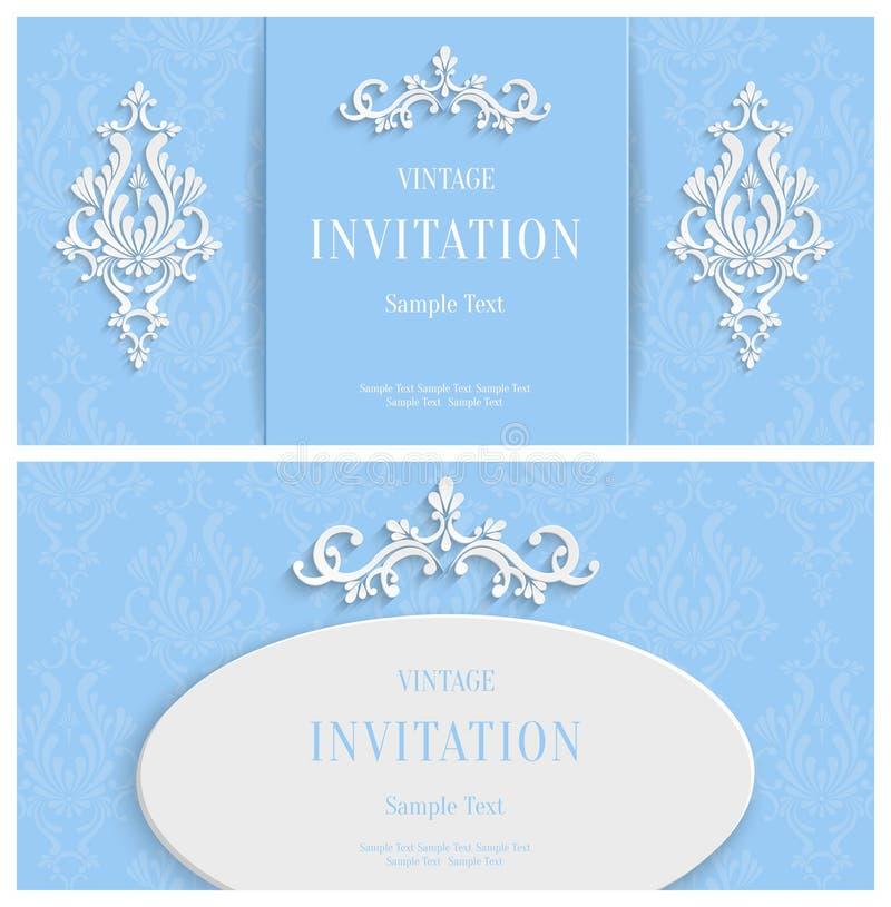 Fondo floreale blu 3d di vettore Modello per il Natale e le carte dell'invito illustrazione di stock
