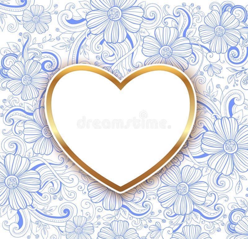Fondo floreale blu del biglietto di S. Valentino con cuore dorato royalty illustrazione gratis