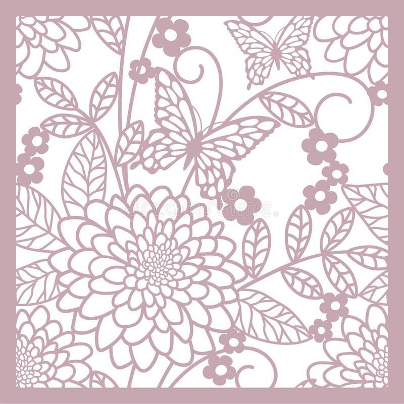 Fondo floreale con i fiori e i buttrflys royalty illustrazione gratis