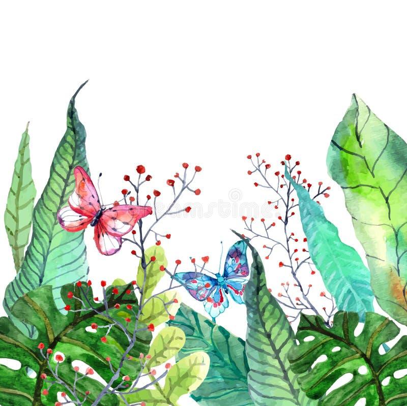 Fondo floreale con i fiori tropicali dell'orchidea, permesso dell'acquerello illustrazione vettoriale