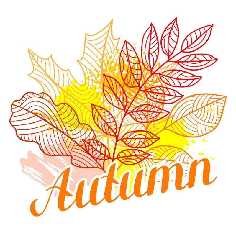 Fondo floreale con il fogliame stilizzato di autunno Fogli di caduta illustrazione di stock