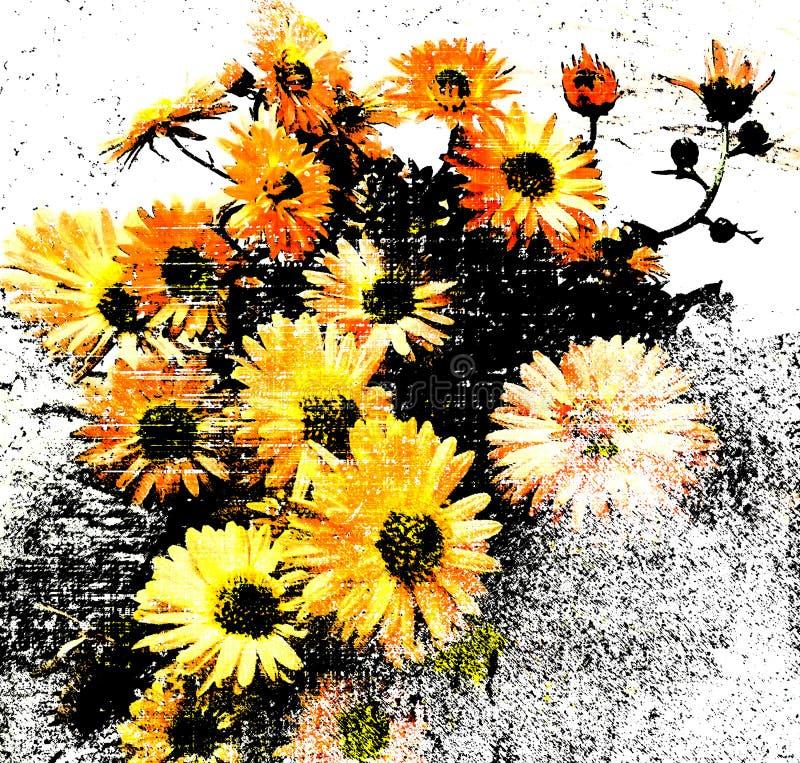 Fondo floreale con il mazzo stilizzato dei crisantemi sul lerciume barrati, contesto macchiato nei colori neri, bianchi, gialli illustrazione di stock