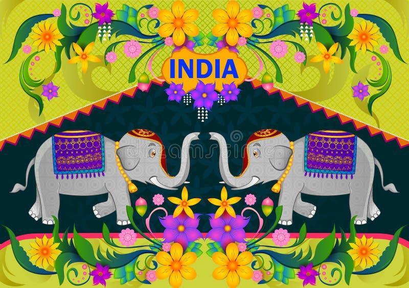Fondo floreale con l'elefante che mostra l'India incredibile illustrazione vettoriale