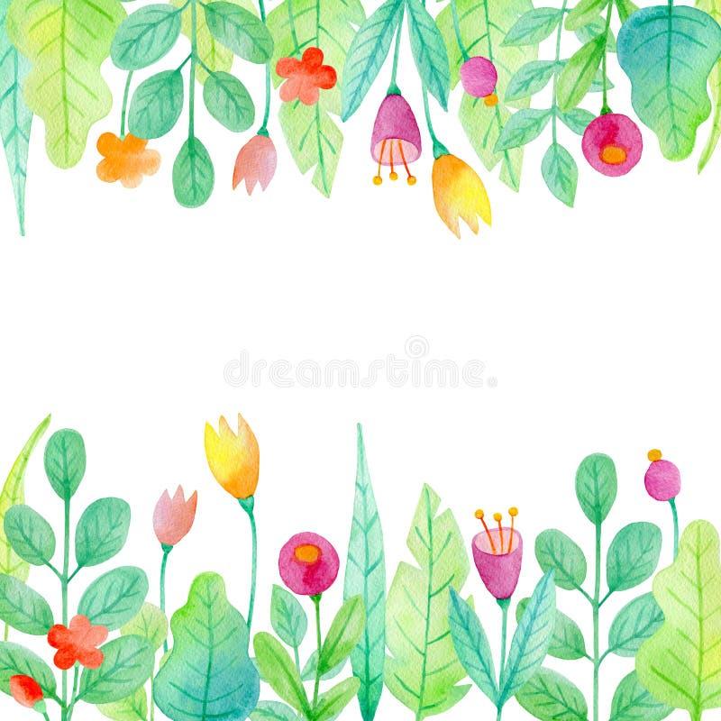 Fondo floreale con le piante dell'acquerello illustrazione vettoriale