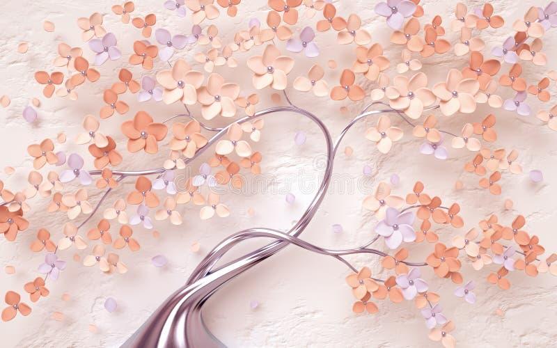 Fondo floreale d'annata con i fiori dell'albero illustrazione vettoriale