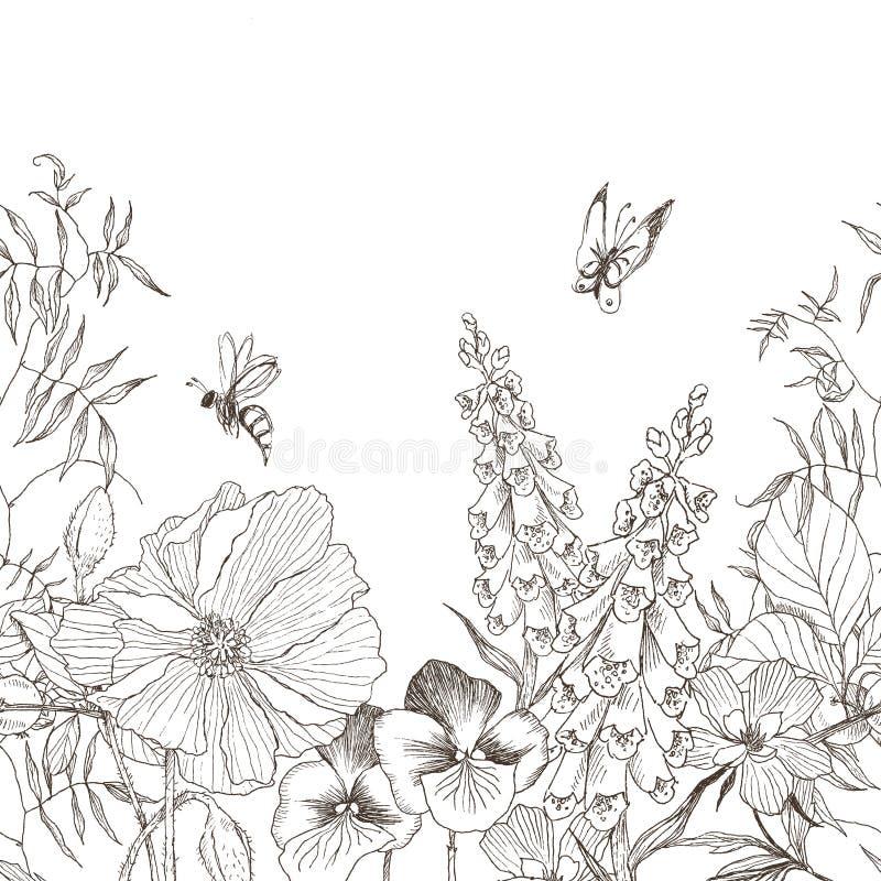 Fondo floreale d'annata del confine senza cuciture Valentino del cuore su fondo bianco Disegno di vettore illustrazione di stock