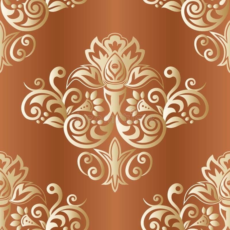 Fondo floreale d'annata di vettore Modello senza cuciture con l'ornamento del damasco royalty illustrazione gratis