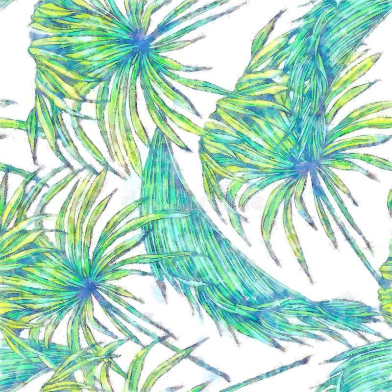 Fondo floreale del modello con la palma Lea And White Gray Tropical F royalty illustrazione gratis
