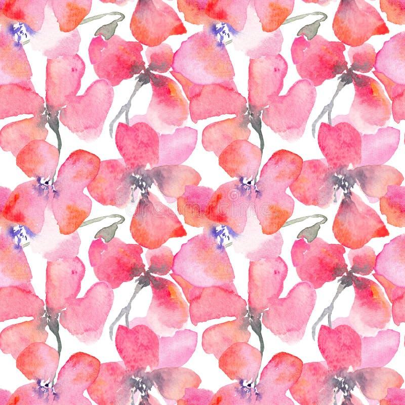 Fondo floreale dell'acquerello con i papaveri rossi royalty illustrazione gratis