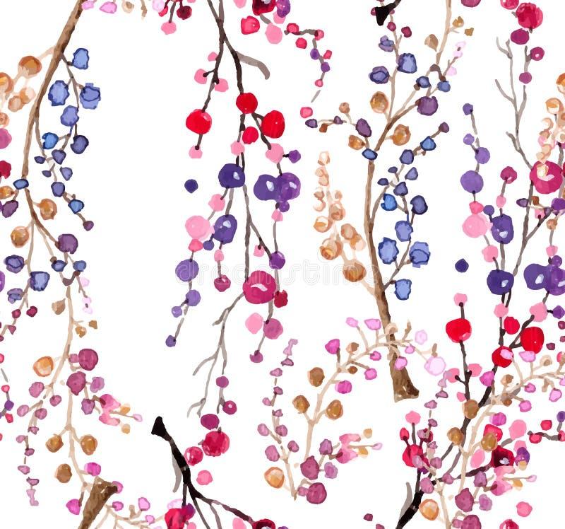 Fondo floreale dell'acquerello senza cuciture illustrazione vettoriale