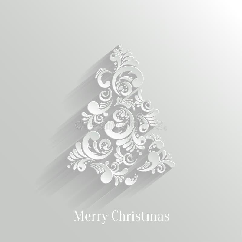 Fondo floreale dell'albero di Natale di Absrtact illustrazione di stock