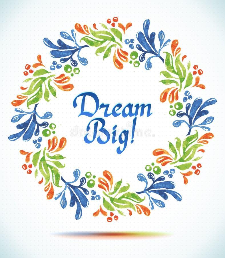 Fondo floreale della cartolina d'auguri del fiore da taglio della carta della corona del grande acquerello di sogno royalty illustrazione gratis