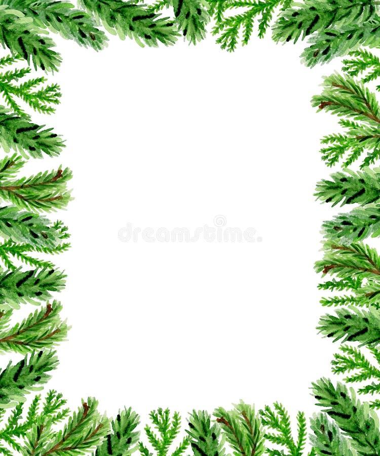 Fondo floreale di Natale con il ramo dell'abete illustrazione di stock