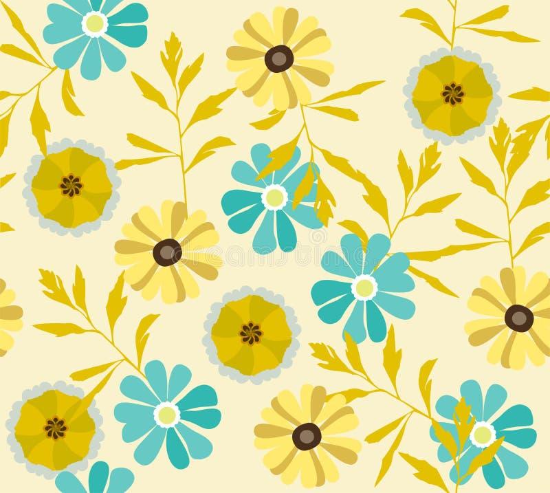Fondo floreale di vettore con i fiori selvaggi illustrazione di stock