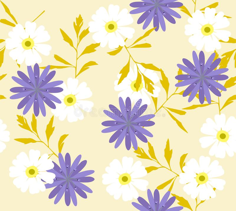 Fondo floreale di vettore con i fiori selvaggi illustrazione vettoriale