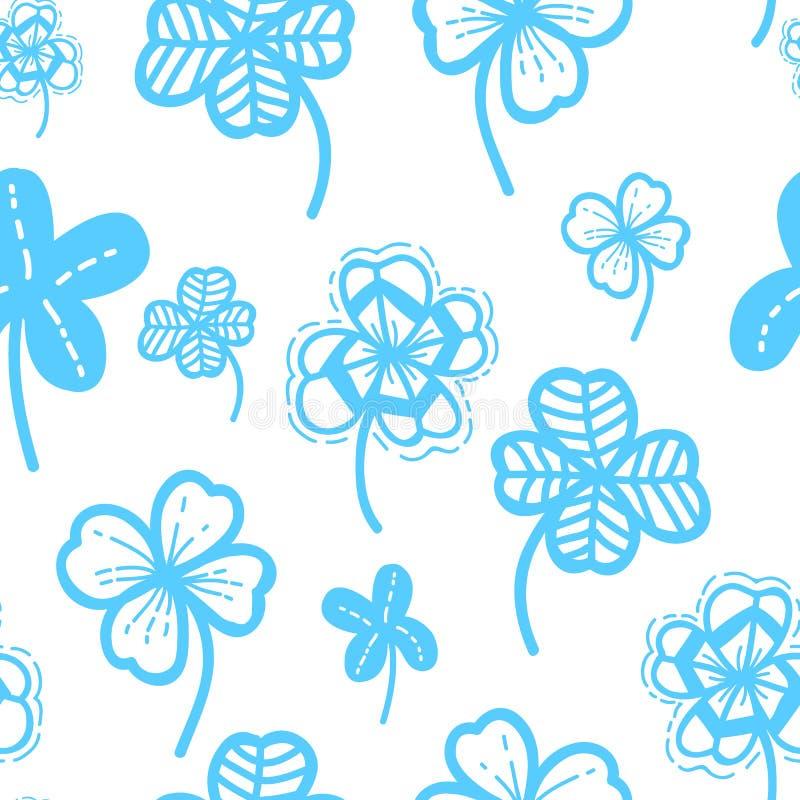 Fondo floreale di vettore disegnato a mano senza cuciture del modello Carta da parati del trifoglio per il giorno del ` s di San  illustrazione di stock