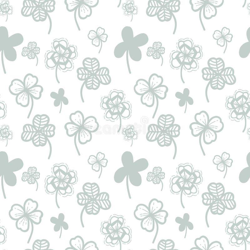 Fondo floreale di vettore senza cuciture del modello con la foglia disegnata a mano del trifoglio per il giorno del ` s di Patric royalty illustrazione gratis