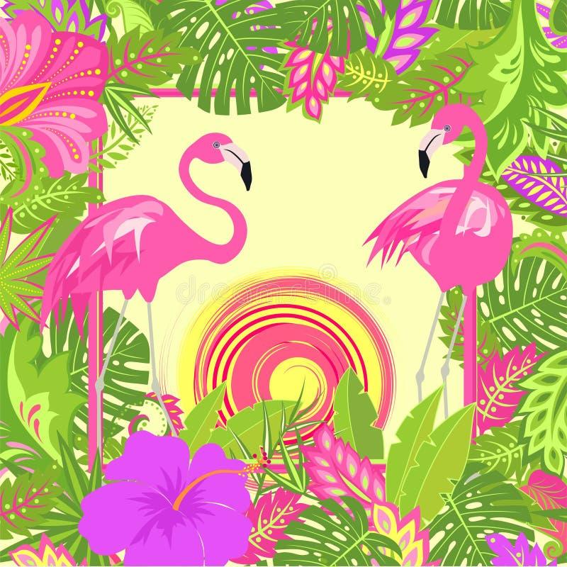 Fondo floreale estivo con le foglie tropicali, coppie il fenicottero rosa adorabile, sole caldo e fiori esotici per la maglietta, royalty illustrazione gratis