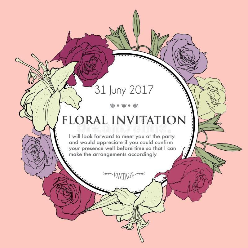 Fondo floreale romantico per nozze, funerale royalty illustrazione gratis