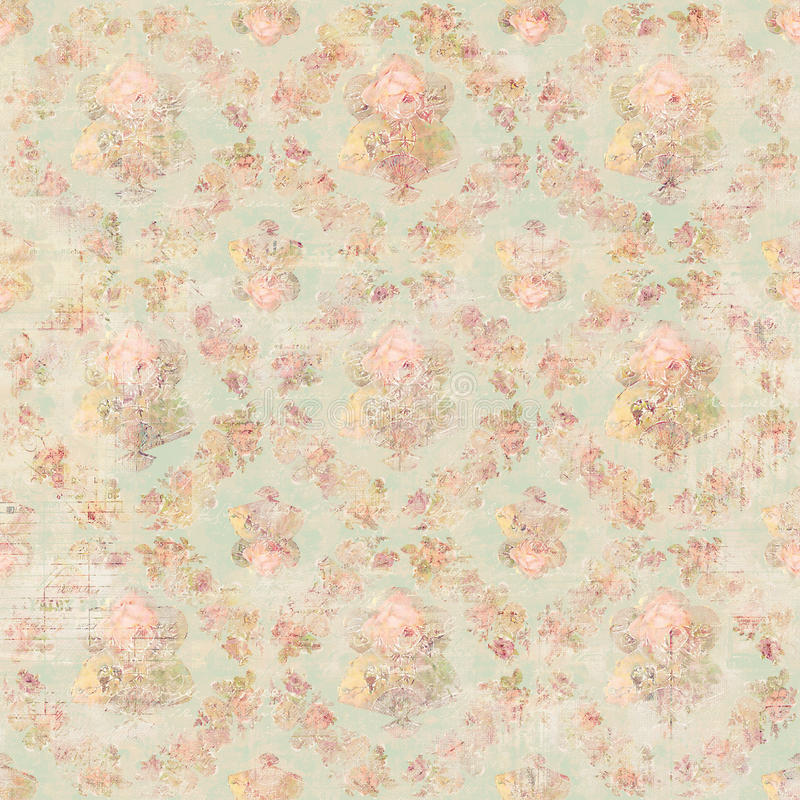 Fondo floreale rosa botanico delle rose di stile d'annata antico illustrazione vettoriale